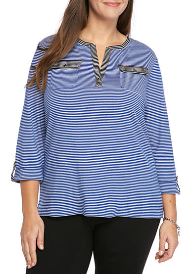 Kim Rogers® Plus Size 2 Pocket Henley Mix Stripe Top