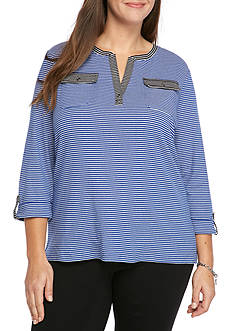 Kim Rogers Plus Size 2 Pocket Henley Mix Stripe Top