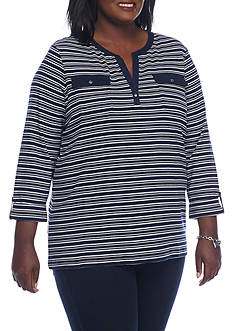 Kim Rogers Plus Size 2-Pocket Henley Striped Shirt