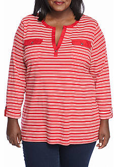 Kim Rogers Plus Size 2-Pocket Henley Striped Shirt