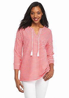 Kim Rogers® Split Neckline Stripe Pull Over with Tassels