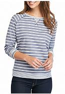 Kim Rogers® French Terry Striped Crew Neck