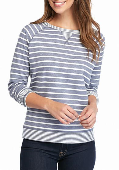 Kim Rogers® French Terry Striped Crew Neck Sweatshirt