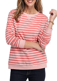 Kim Rogers French Terry Striped Crew Neck Sweatshirt