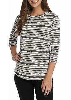 Kim Rogers Three-quarter Sleeve Textured Stripe Knit Top