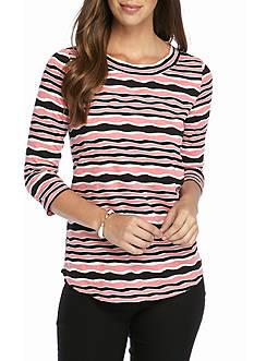 Kim Rogers Three-quarter Sleeve Textured Stripe Knit Top