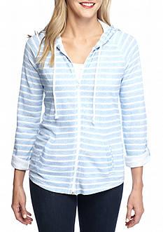 Kim Rogers Roll-Up Sleeve Stripe Hooded Jacket