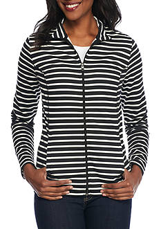 Kim Rogers® Mock Neck Striped Jacket