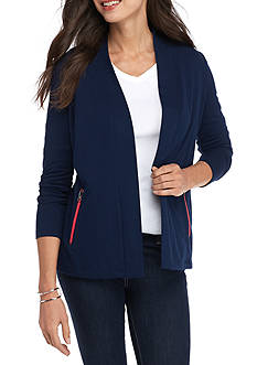 Kim Rogers® Long Sleeve Open Front French Terry Jacket