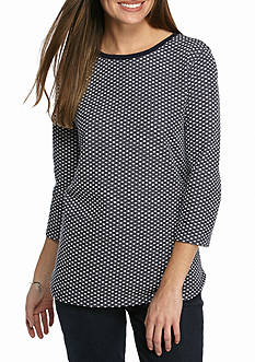 Kim Rogers® Three Quarter Sleeve Dot Textured Tunic
