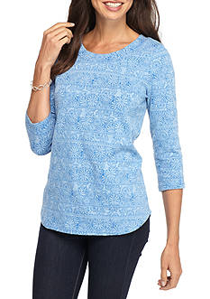 Kim Rogers® Three Quarter Boat Neck Floral Knit Top