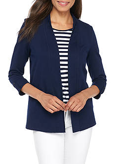 Kim Rogers® 3/4 Open Solid Cardigan