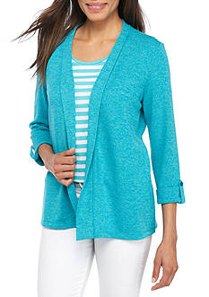 Kim Rogers Three-Quarter Sleeve Open Marbled Cardigan