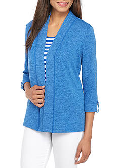 Kim Rogers® Three-Quarter Sleeve Open Marbled Cardigan