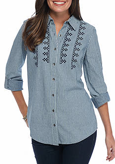 Kim Rogers Embroidered Striped Chambray Shirt
