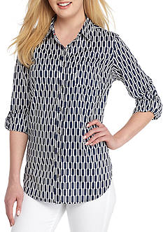 Kim Rogers® Roll Sleeve Cambric Geo Top