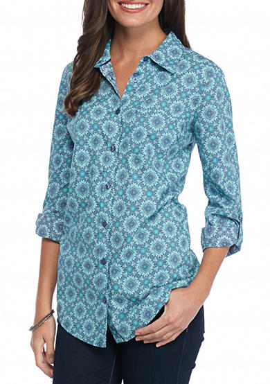 Kim Rogers® Medallion Print Chambray Shirt