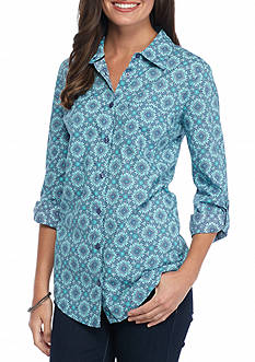 Kim Rogers Medallion Print Chambray Shirt