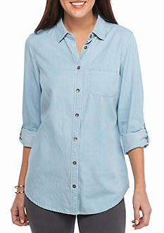 Kim Rogers Chambray Button Down Top