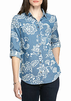 Kim Rogers Chambray Paisley Top