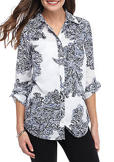 Kim Rogers Rolled Sleeve Chambric Paisley Top