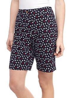 Kim Rogers Anchor Print Bermuda Shorts
