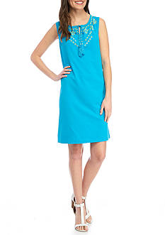 Kim Rogers Sleeveless Embroider Tie Neck Dress