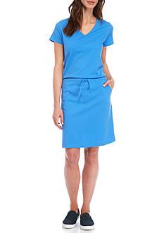 Kim Rogers Short Sleeve V-Neck Solid Dress