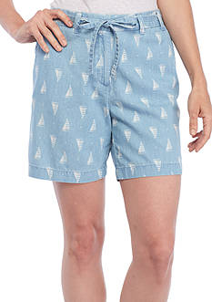 Kim Rogers® Tie Front Printed Shorts