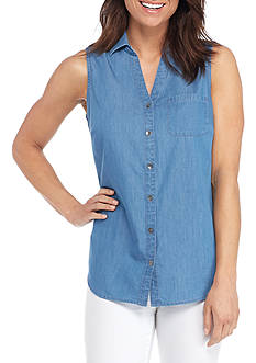 Kim Rogers Sleeveless Button Front Chambray Top