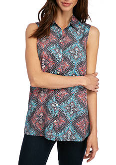 Kim Rogers Sleeveless Woven Swing Top