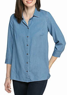 Kim Rogers 3/4 Sleeve Woven Button Front