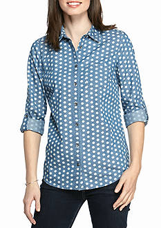 Kim Rogers Roll Sleeve Chambray Shell Shirt
