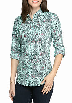 Kim Rogers Roll Sleeve Woven Floral Button Front Shirt