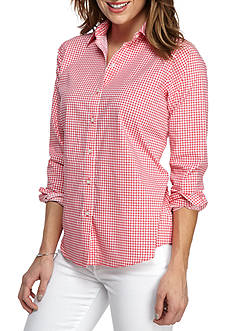 Kim Rogers No Iron Gingham Knit Top