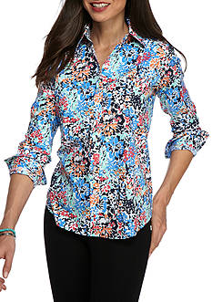 Kim Rogers No Iron Floral Knit Top