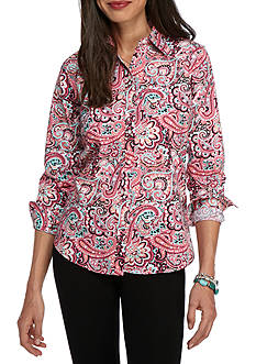 Kim Rogers No Iron Plenty Paisley Knit Top