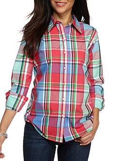 Kim Rogers No Iron Plaid Shirt