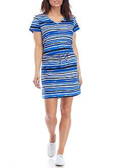 Kim Rogers Short Sleeve Drawstring Stripe Dress