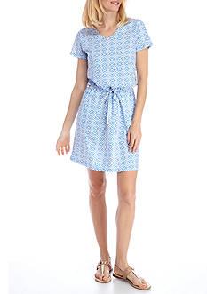 Kim Rogers Short Sleeve Drawstring Geometric Print Dress