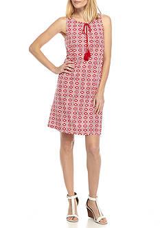 Kim Rogers Sleeveless Keyhole Neck Print Dress