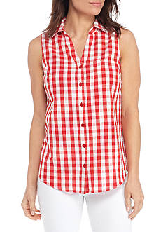 Kim Rogers Sleeveless Button Front Gingham Top