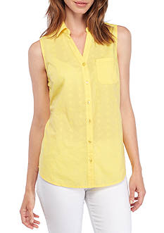 Kim Rogers® Sleeveless Button Front Embroidered Top