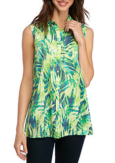 Kim Rogers Sleeveless Swing Palms Top