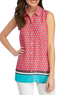 Kim Rogers Sleeveless Swing Dot Top