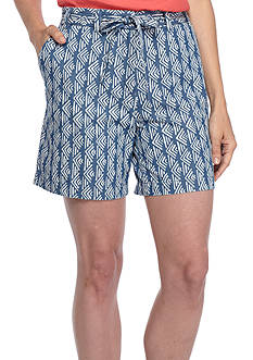 Kim Rogers® Tie Front Printed Woven Shorts