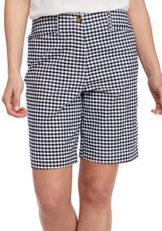 Kim Rogers Long Pocket Gingham Print Bermuda Shorts