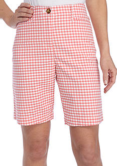 Kim Rogers Long Pocket Gingham Print Bermuda Shorts