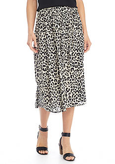 Kim Rogers Animal Print Crinkle Skirt