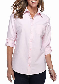 Kim Rogers Rolled Sleeve Oxford Women Shirt